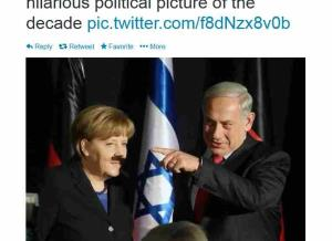 Benjamin Netanyahu casts a Hilteresque shadow on Angela Merkel in this photo captured by Marc Israel Sellem of the Jerusalem Post.