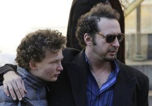 David Bar Katz, right, arrives for the actor's funeral at the Church of St. Ignatius Loyola.