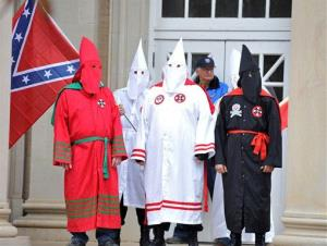 Members of the Ku Klux Klan protest on the steps of Fulton Chapel at the University of Mississippi.