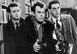In an undated file photo, Bill Murray, Dan Aykroyd, center, and Harold Ramis, right, appear in a scene from the 1984 movie Ghostbusters.