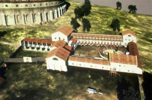 A virtual video shows the former Roman gladiator school at Carnuntum, in Austria, on Monday, Sept 5, 2011.