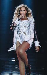 Beyonce performs onstage on her Mrs. Carter Show World Tour 2014, at the LG Arena on Sunday, Feb. 23, 2014 in Birmingham, United Kingdom.