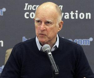 This Jan. 30, 2014 file photo shows California Governor Jerry Brown speaking in Los Angeles.