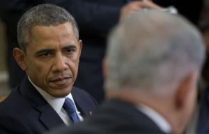 President Obama listens as Israeli Prime Minister Benjamin Netanyahu speaks in the Oval Office, Monday, March 3, 2014.