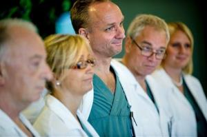 From left specialist surgeons Andreas G Tzakis, Pernilla Dahm-Kohler, Mats Brannstrom, Michael Olausson and Liza Johannesson attend a news conference Tuesday Sept. 18, 2012, in Goteborg, Sweden.