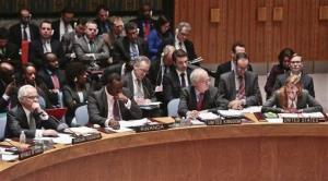 UN Russian Ambassador Vitaly Churkin, far left, listens as US Ambassador to the UN Samantha Power, far right, speaks during UN Security Council meeting on March 3, 2014, at UN headquarters.