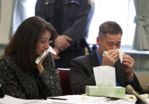 Elizabeth and Sean Canning, parents of Rachel Canning, cry during a hearing at the Morris County Courthouse, Tuesday, March 4, 2014, in Morristown, NJ.