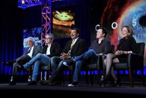 From left, executive producer Mitchell Cannold, executive producer Brannon Braga, host Neil deGrasse Tyson, executive producer Seth MacFarlane, and writer Ann Druyan on a panel for Cosmos.