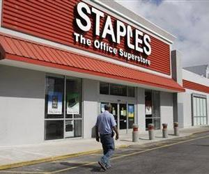 This March 6, 2013 file photo shows a Staples office supply store Miami.