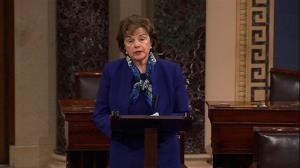 This video framegrab shows Senate Intelligence Committee Chair Sen. Dianne Feinstein, D-Calif., speaking on the floor of the Senate on Capitol Hill in Washington, March 11, 2014.