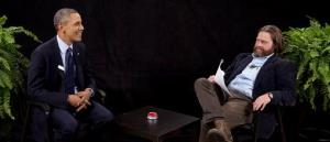 President Obama is seen with actor-comedian Zach Galifianakis during an appearance on Between Two Ferns.