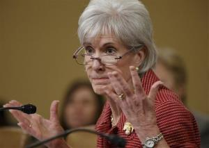 Health and Human Services Secretary Kathleen Sebelius defends President Barack Obama's healthcare law, the Affordable Care Act, as she answers questions from Republican members of the House Ways and Means Committee during its review of President Obama's budget requests, Wednesday, March 12, 2014, on Capitol Hill in Washington.