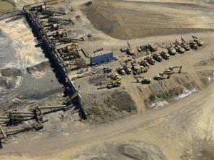 A confiscated iron ore mining operation near the Pacific port of Lazaro Cardenas, Mexico.