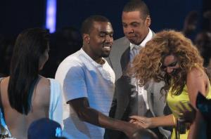 From left, Kanye West, Jay-Z and Beyonce are seen at the BET Awards on Sunday, July 1, 2012, in Los Angeles.