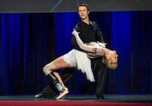 Adrianne Haslet-Davis dances with Christian Lightner at the 2014 TED Conference in Vancouver.