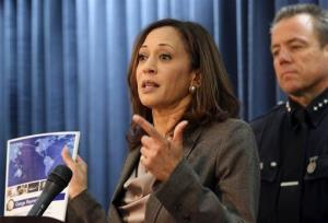California Attorney General Kamala D. Harris, speaks during a news conference, Thursday, March 20, 2014, in Los Angeles.