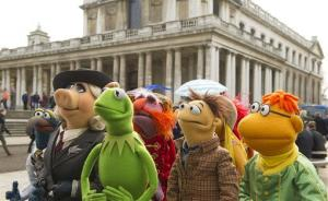 This image released by Disney shows muppet characters, from left, Gonzo, Miss Piggy, Kermit, Floyd Walter and Scooter in a scene from Muppets Most Wanted.