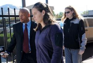 Jordan Linn Graham, center, leaves the federal courthouse in Missoula, Mont., in this file photo from 2013.