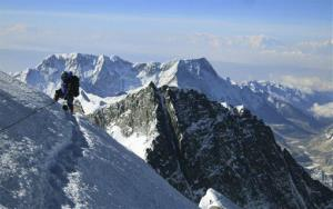 Aa climber pauses on the way to the summit of Mount Everest.