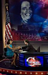 Stephen Colbert is seen with Michelle Obama, wife of Democratic presidential hopeful Sen. Barack Obama D-Ill., during taping at the University of Pennsylvania in Philadelphia, Tuesday, April 15, 2008.