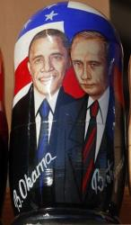 A Russian wooden doll depicts President Obama and Russian President Vladimir Putin.