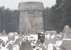 A memorial on the grounds of the Nazi death camp in Treblinka, Poland.