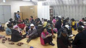 Residents of South Korea's Yeonpyeong Island were moved to a shelter after the exchange of fire.