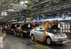 The Chevy Cobalt moves on the assembly line at the Lordstown Assembly Plant Thursday Aug. 21, 2008, in Lordstown, Ohio.