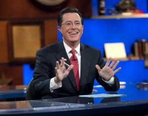 This Sept. 8, 2010, publicity photo released by Comedy Central shows host Stephen Colbert appears on The Colbert Report, in New York.