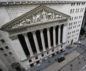 This file photo shows the facade of the New York Stock Exchange.