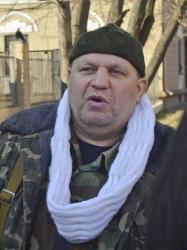 In this Friday, Feb. 21, 2014 file photo, Right Sector's activist Oleksandr Muzychko, better known by his nom de guerre Sashko Bily, speaks in Rivne, Western Ukraine.