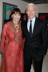 Gloria Vanderbilt and her son Anderson Cooper attend the 1stdibs Presents: The Exhibition of The World of Gloria Vanderbilt preview party at 1stdibs Gallery, Sept. 12, 2012, in New York.