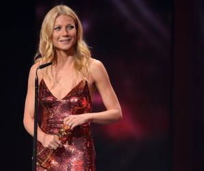 In this picture taken Saturday, Feb. 1, 2014, Gwyneth Paltrow  poses with her award during the Goldene Kamera (Golden Camera ) media  award event in Berlin, Germany.