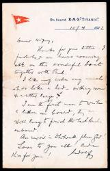 This undated photo released by Spink Smythe shows an April 10, 1912-dated letter written on Titanic stationery, by first class passenger Adolphe Saalfeld of England; it was also auctioned off in 2009.