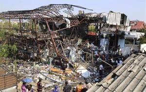 The wreckage of the scrap shop after yesterday's explosion.