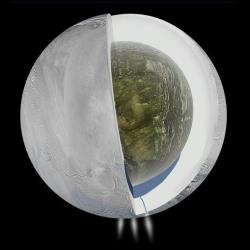 This illustration provided by NASA and based on Cassini spacecraft measurements shows the possible interior of Saturn's moon Enceladus.