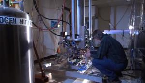 A screen shot from NIST video featuring the new clock.