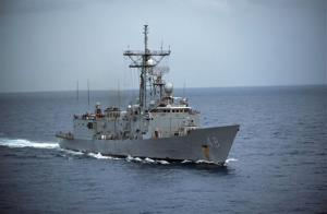 In this image provided by the U.S. Navy the USS Vandegrift is underway Oct. 15, 2012 in the South China Sea. The U.S. Navy warship reached the crippled sailboat hundreds of miles off the Mexican coast and was preparing Sunday April 6, 2014 to complete the rescue of...