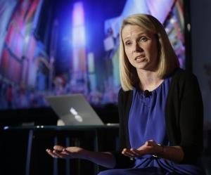 In this  Monday, May 20, 2013, file photo, Yahoo CEO Marissa Mayer speaks during a news conference in New York.