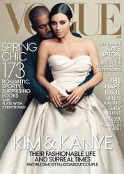 This cover image taken by Annie Leibovitz for Vogue shows the April 2014 issue of the high fashion magazine featuring rapper Kanye West and TV personality Kim Kardashian.