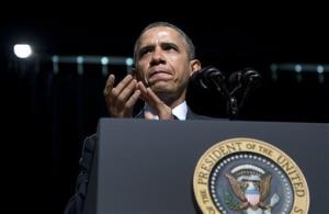 President Barack Obama applauds as he speaks at Bladensburg High School, Monday, April 7, 2014, in Bladensburg, Md.