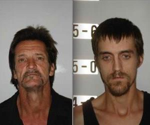 The alleged burglars, Patrick William Mullen and Randy Hopper, are seen in these booking photos.