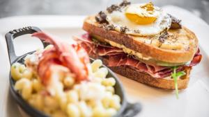 The $100 sandwich from the menu at Deca. That's a duck egg on top.