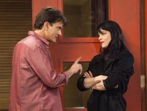 This publicity image released by FX shows Charlie Sheen as Charlie Goodson and Selma Blair as Kate Wales in a scene from the comedy Anger Management.
