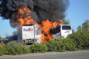 Flames devour both vehicles after Thursday's crash near Sacramento.