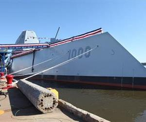 Zumwalt DDG 1000 the first Zumwalt Class Multi-Mission Destroyer is seen before its christening ceremony Saturday, April 12, 2014.