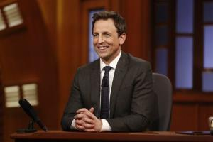 This Feb. 24, 2014 image released by NBC shows host Seth Meyers during the premiere of his new late night talk show, Late Night with Seth Meyers in New York.