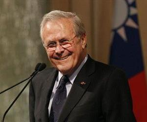 This Oct. 11, 2011 file photo shows former US Secretary of Defense Donald Rumsfeld speaking during a luncheon on security in rising Asia, in Taipei, Taiwan. Rumsfeld has a book coming out in May 2013.