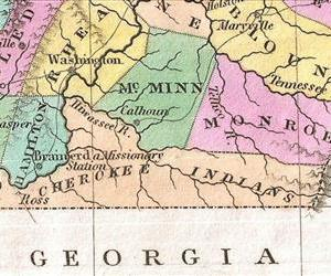 Finley's 1827 map of Tennessee.