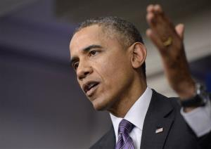 President Obama speaks in the briefing room of the White House Thursday.
